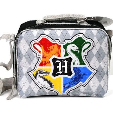 Harry Potter Hogwarts Houses Insulated Lunch Box Bag, Argyle Gray & Black