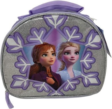 Disney Frozen II Elsa & Anna Dome Shaped Shimmer Snowflake Lunch Bag
