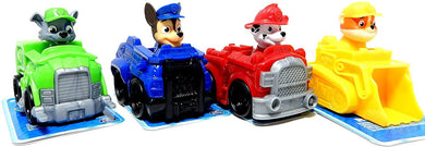 Set of 4 Paw Patrol Racers Vehicles Toy Cars, Chase Rocky Marshall Rubble