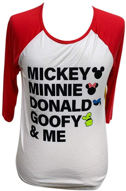 Disney Mickey Minnie Mouse Donald Goofy & Me Juniors Raglan 3/4 Sleeve T-Shirt, Red & White