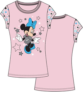 Disney Minnie Mouse Youth Girl's T Shirt, Dazzling Star Light Pink Short Sleeve Top