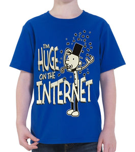 "Diary of a Wimpy Kid ""I'm Huge on the Internet"" Boy's T-Shirt, Blue"