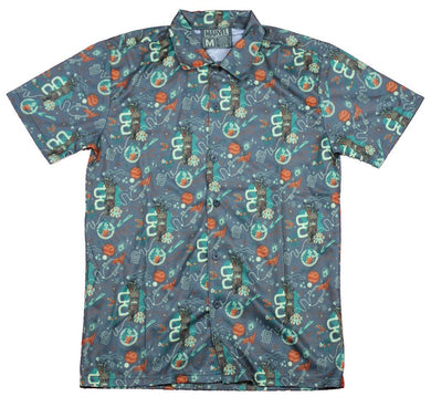 Guardians of The Galaxy Hawaiian Casual Button Down Short Sleeve Shirt (M) Gray