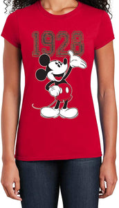 Classic Disney Mickey Mouse 1928 Hands Up Junior's Fashion T-Shirt, Red