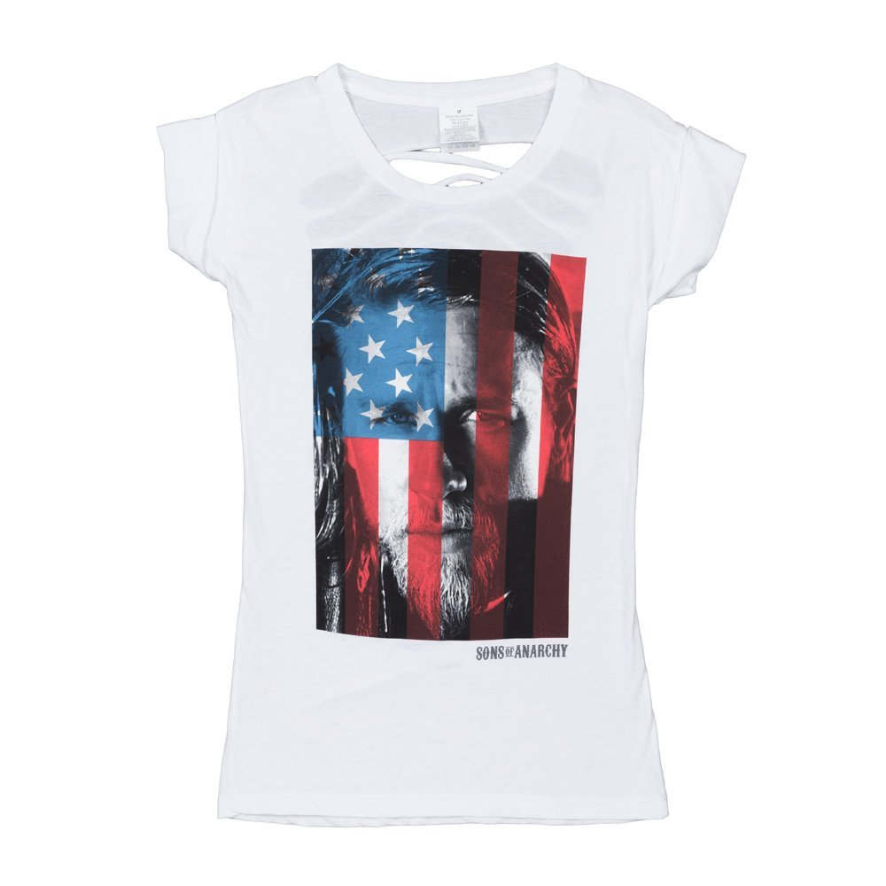 Sons Of Anarchy Jax American Flag Women's Juniors Open Back T-Shirt, White