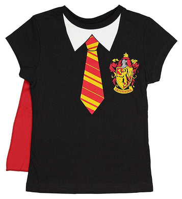 Harry Potter Gryffindor Uniform Girls Youth with Removable Cape T-Shirt