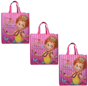 [3-Pack] Disney Junior Fancy Nancy Large 16-inch Reusable Shopping Tote or Gift Bag, Pink