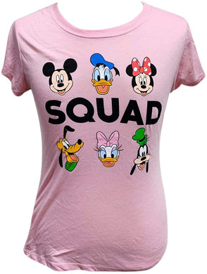 Disney Mickey Minnie Mouse Donald Daisy Duck Goofy Pluto Squad Juniors T-Shirt, Pink