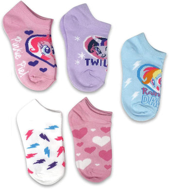 5-Pack My Little Pony No-Show Socks,Toddler Girls Shoe Size 4-7.5, Sock Size 5-6.5
