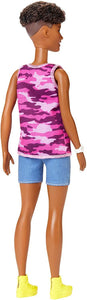 "Barbie Fashionistas Doll #128 Short Curly Brunette Hair Wearing ""Good Vibes Only"" Camo Tank, Shorts and Accessories"