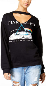 Pink Floyd Dark Side of The Moon Juniors' Cutout Neck Graphic Sweatshirt