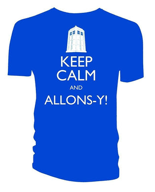 Doctor Who Keep Calm And Allons-Y! 10th Doctor David Tennant Mens Blue T-Shirt