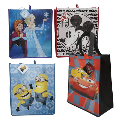 [4-Pack] Disney Frozen, Mickey Mouse, Cars, & Minions 15-inch Reusable Travel Tote Shopping Bags