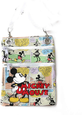 Disney Classic Mickey Mouse Comics Crossbody Passport Bag, White