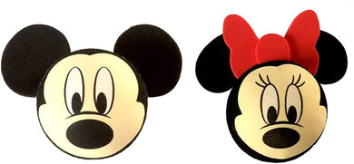 Set of 2 Mickey & Minnie Mouse Face Aerial Balls Car Antenna Toppers