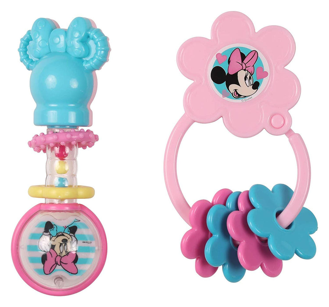 Disney Minnie Mouse Barbell Rattle & Keyring Teether Baby Toys Combo Pack