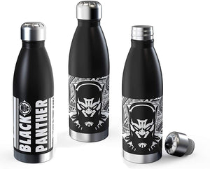 [3-Pack] Marvel Comics Black Panther 17.5oz Stainless Steel Insulated Vacuum Water Bottles