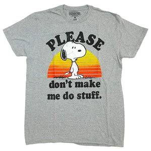 "Peanuts Snoopy Please ""Don't Make Me Do Stuff"" Men's Gray Graphic T-Shirt"
