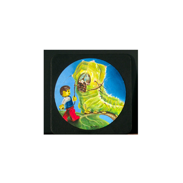 "Caterpillar Tamer- 3"" coaster painting"