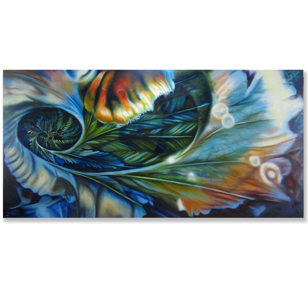 "Feather Bloom- 24"" x 48"" painting"