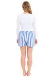 Ladies Striped Linen Shorts (4020)