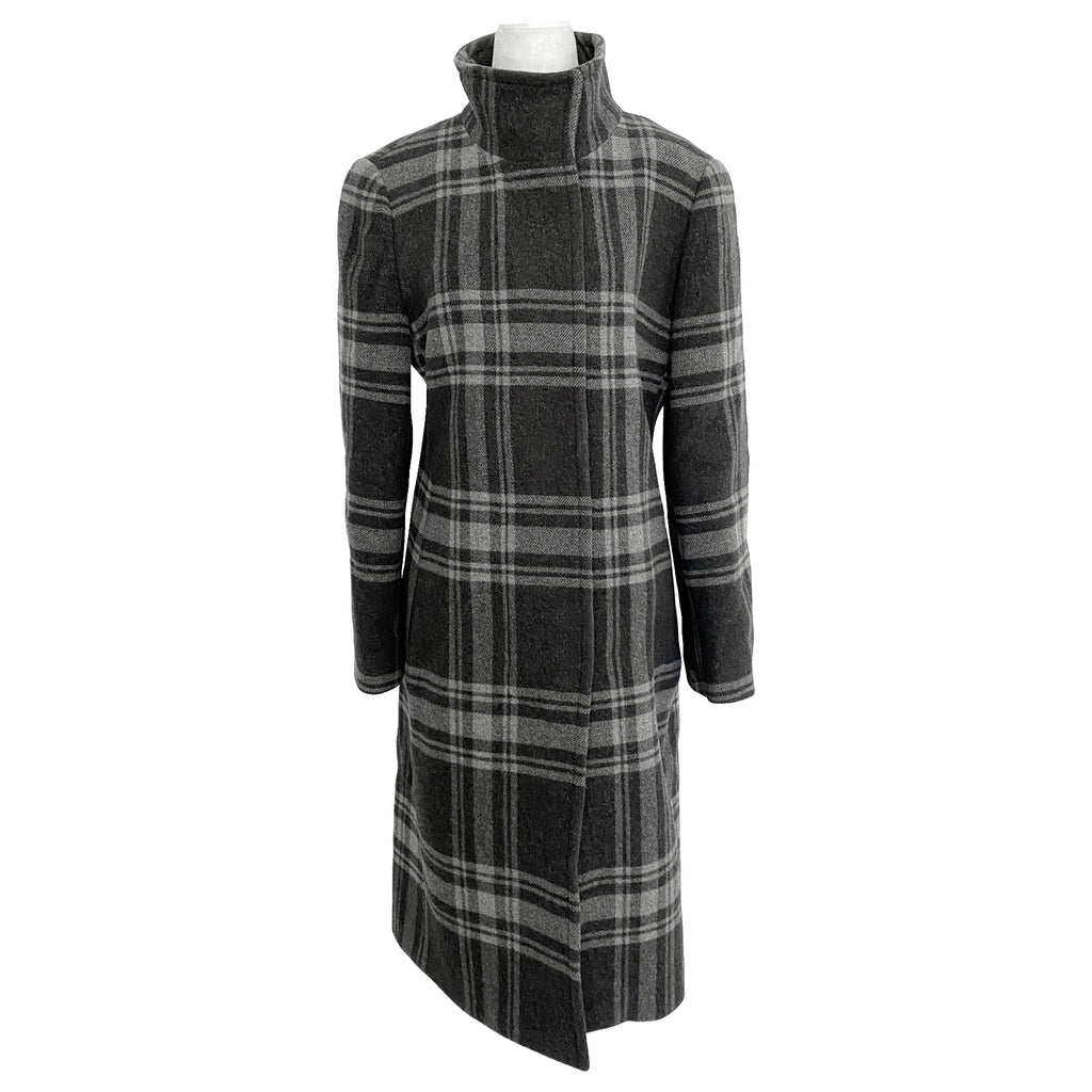 Akris Punto Plaid Wool and Angora Blend Long Coat