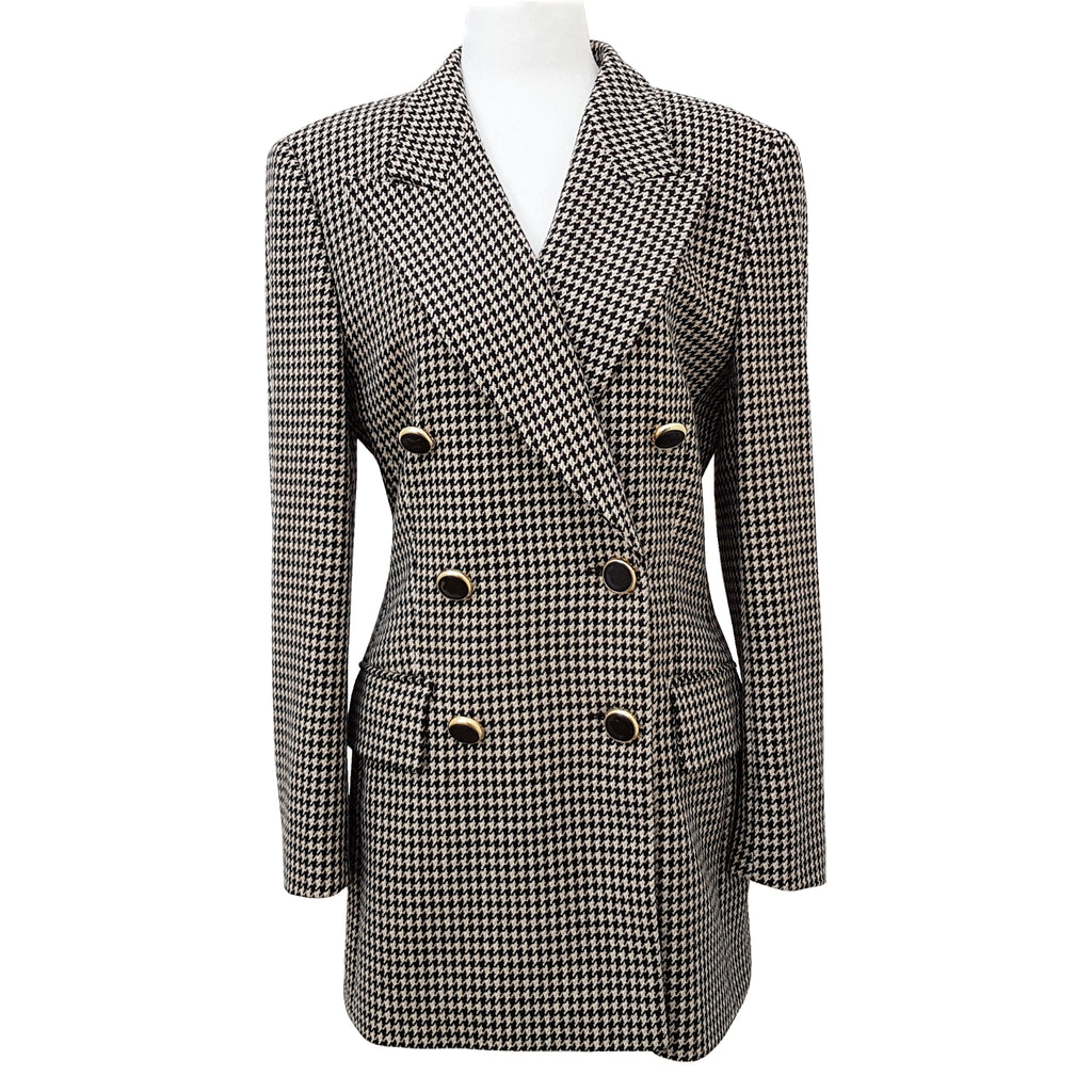 Escada 100% Cashmere Vintage Houndstooth Double Breasted Blazer
