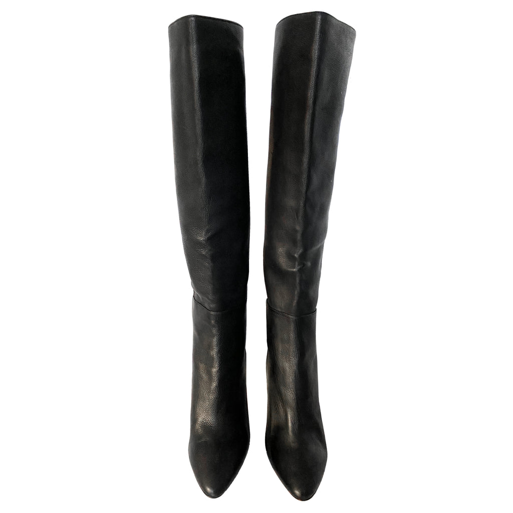 Jimmy Choo Drape Knee High Leather Boots Size EU 36.5