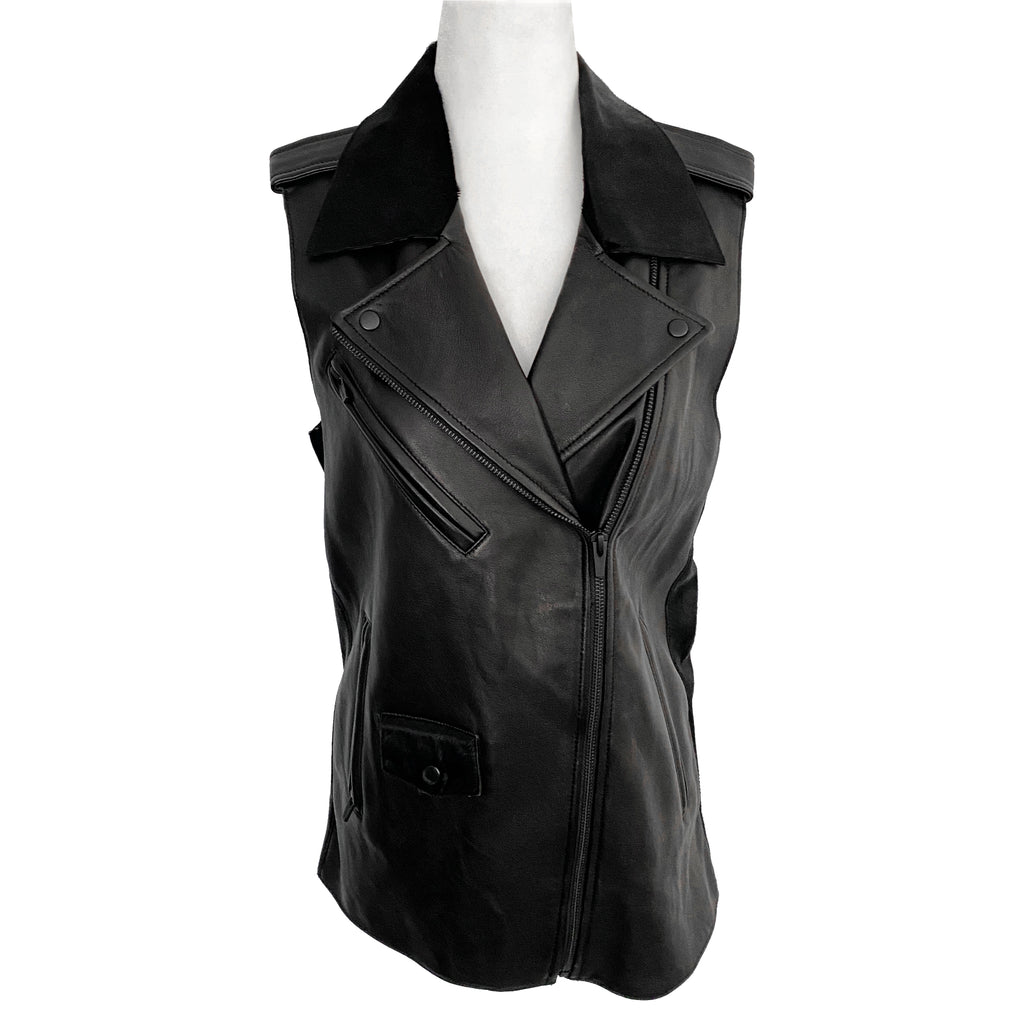 Stop it Right Now x Veda Castor Leather Motorcycle Vest Size S