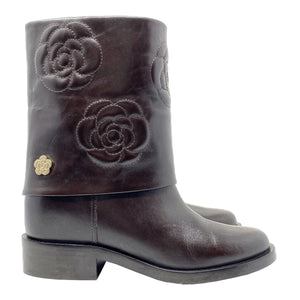 Chanel Camellia Embroidered Fold-Over Round Toe Leather Boot