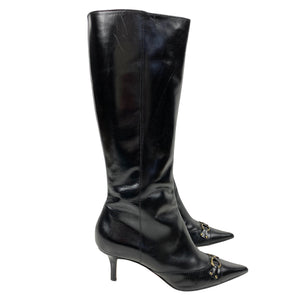 Dior John Galliano Era Mid 90s Pointed Logo Boots Size 39
