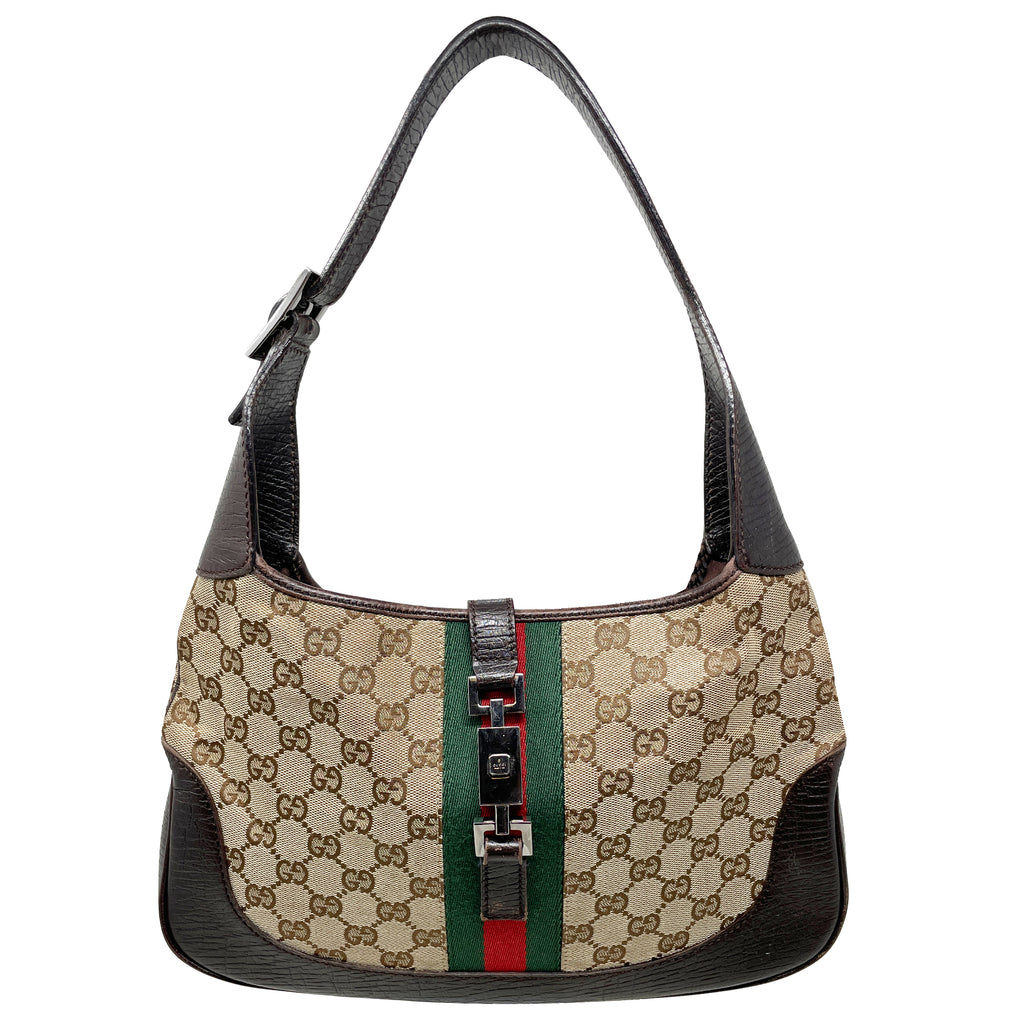 Gucci Monogram Web Jackie O Hobo Bag