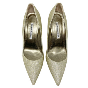 Manolo Blahnik BB 105 Gold Glitter Pointed Toe Pumps