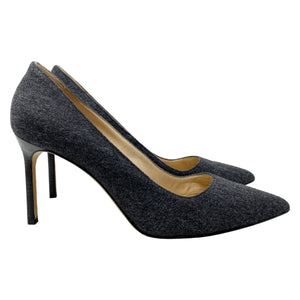 Manolo Blahnik BB 90 Gray Wool Pointed Toe Pumps