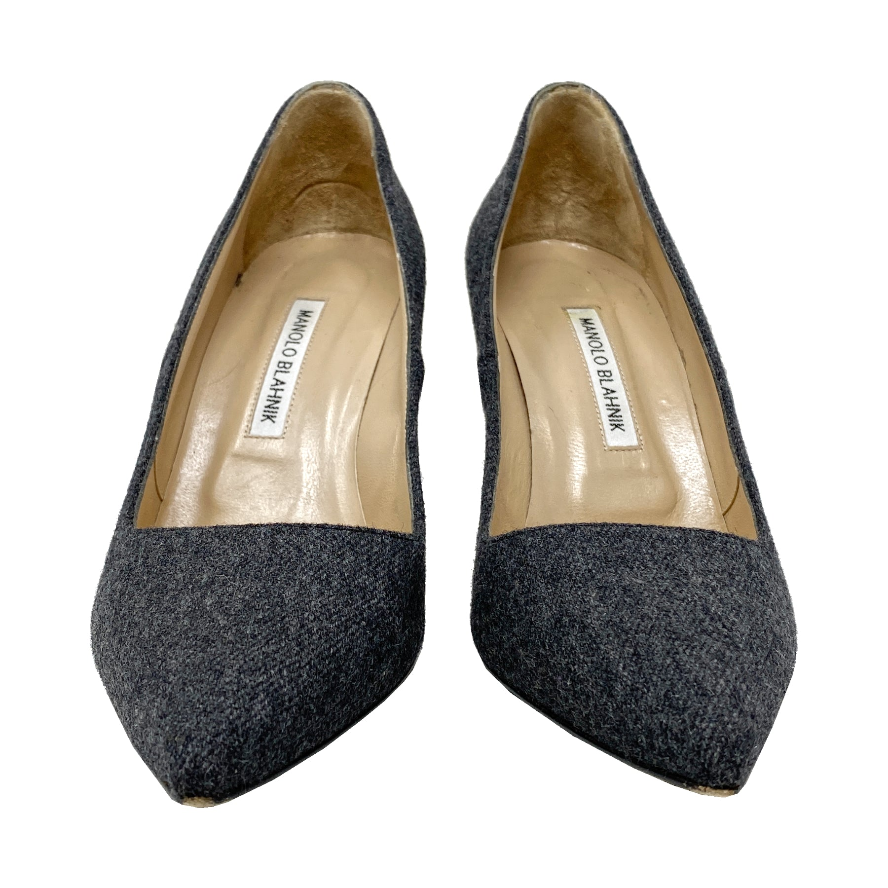Manolo Blahnik BB 90 Wool Pointed Pumps Size EU 39.5