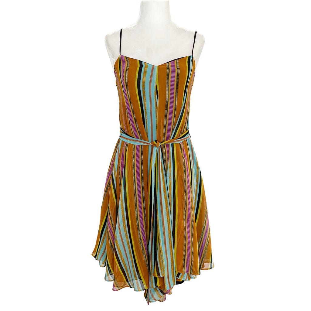 Mara Hoffman A-line Multicolor Striped Mini Dress Size XS