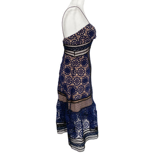 Self-Portrait Guipure Blue and Black Lace Midi Dress Size US 2