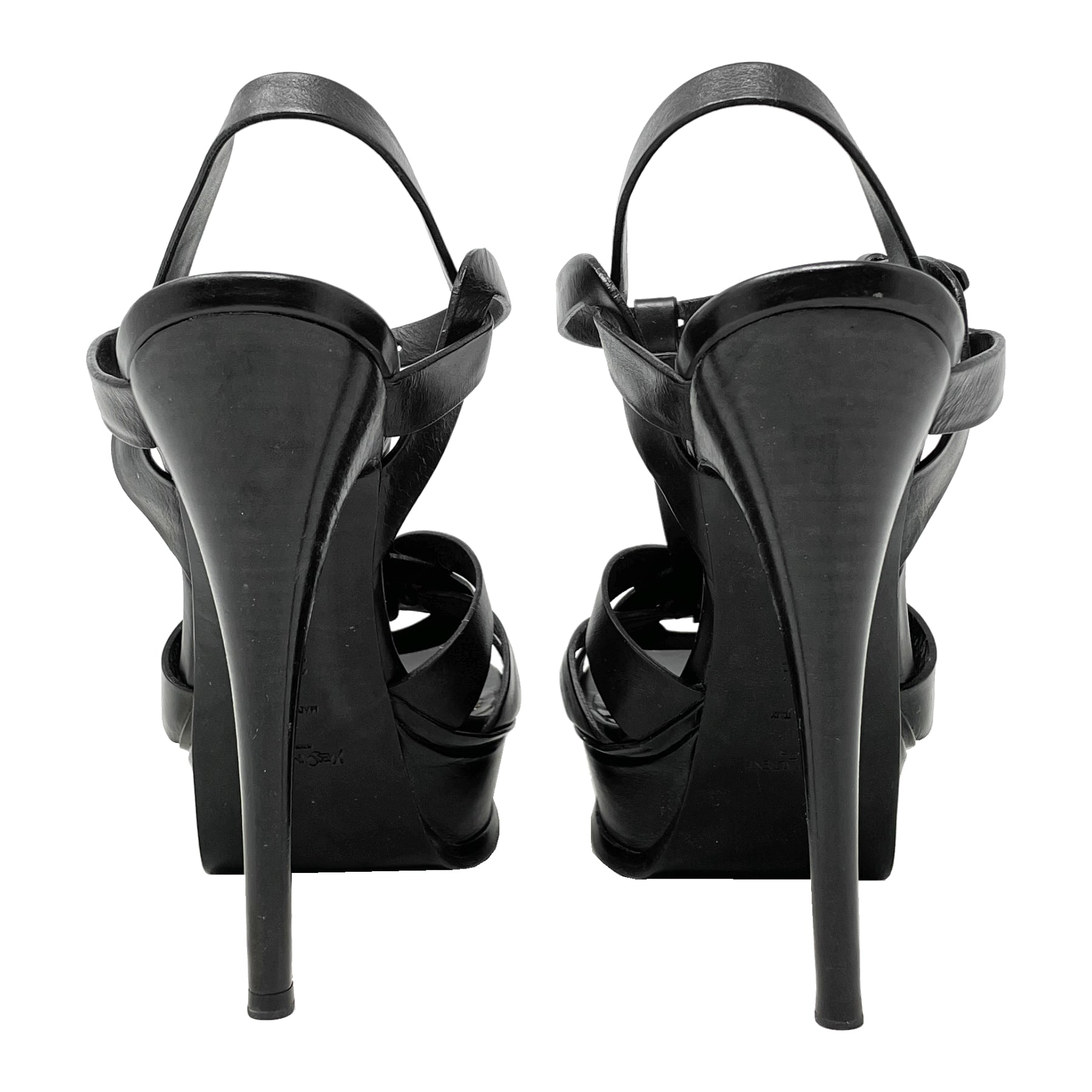 YSL Black Tribute 120 Platform Sandals Size EU 39.5