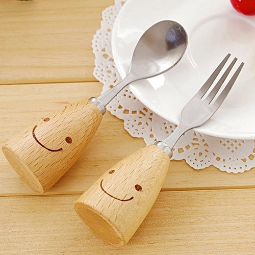 Standing Spoon and Fork Set - Smiley Face