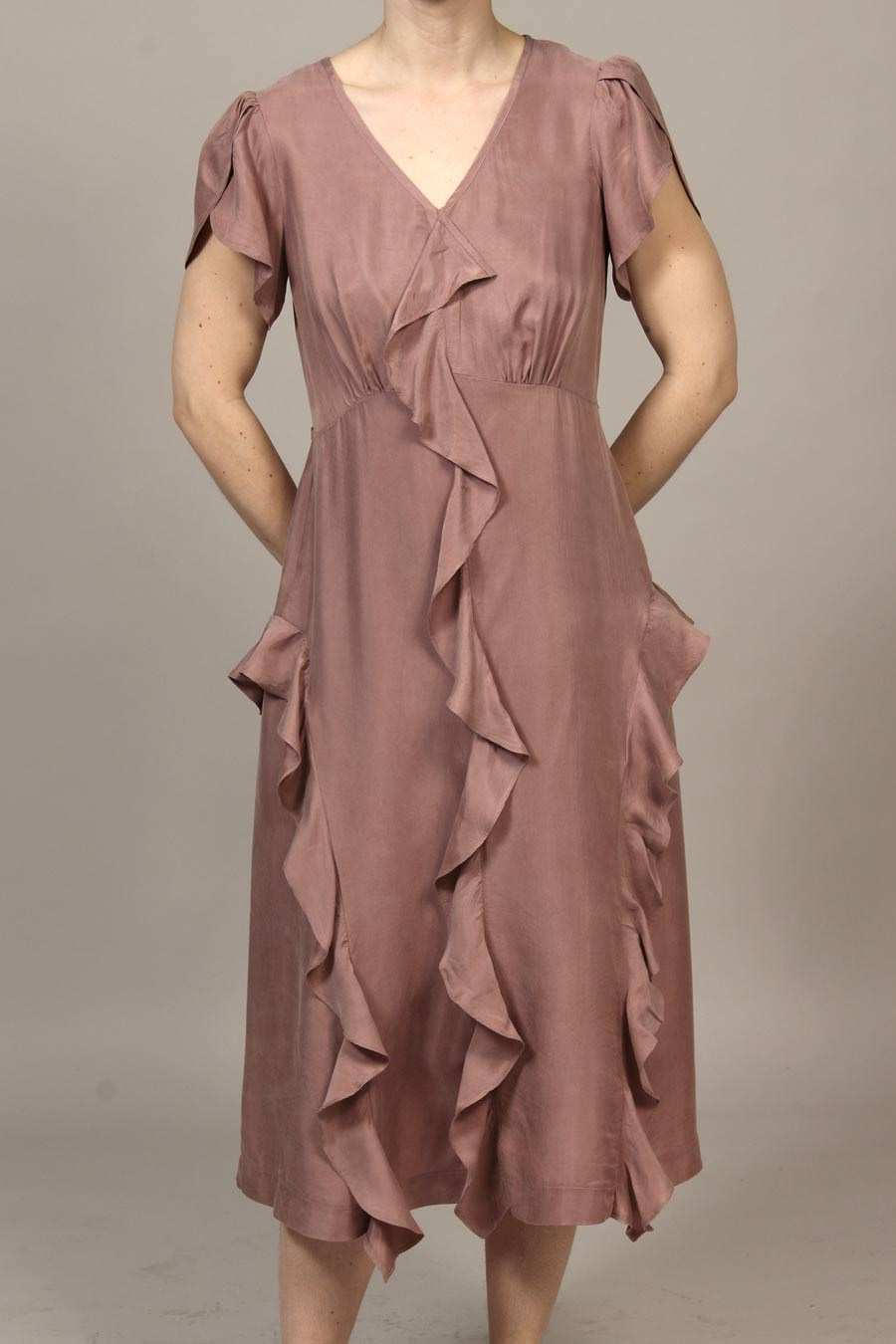 Cupro 'Parachute' - Bloomfield Dress - Dusty Rose - xsm, sml, med, xlg
