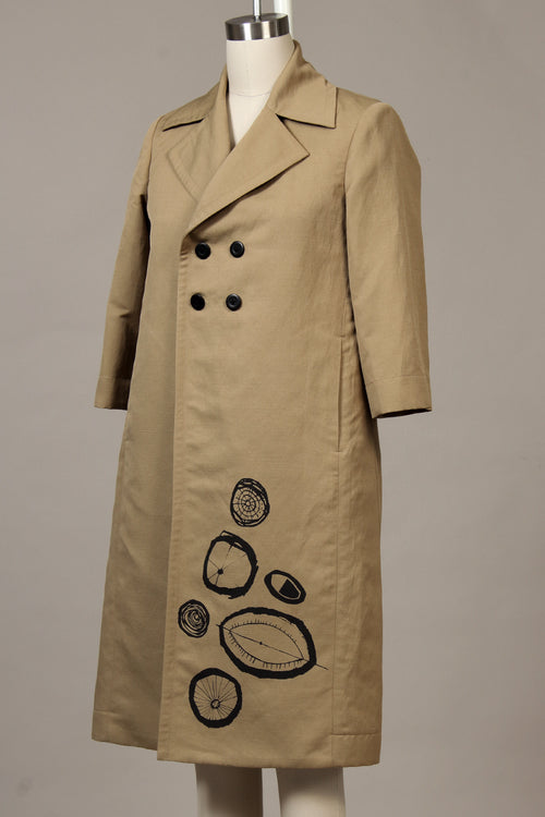 Double Basket Weave Garden Coat - dark tan