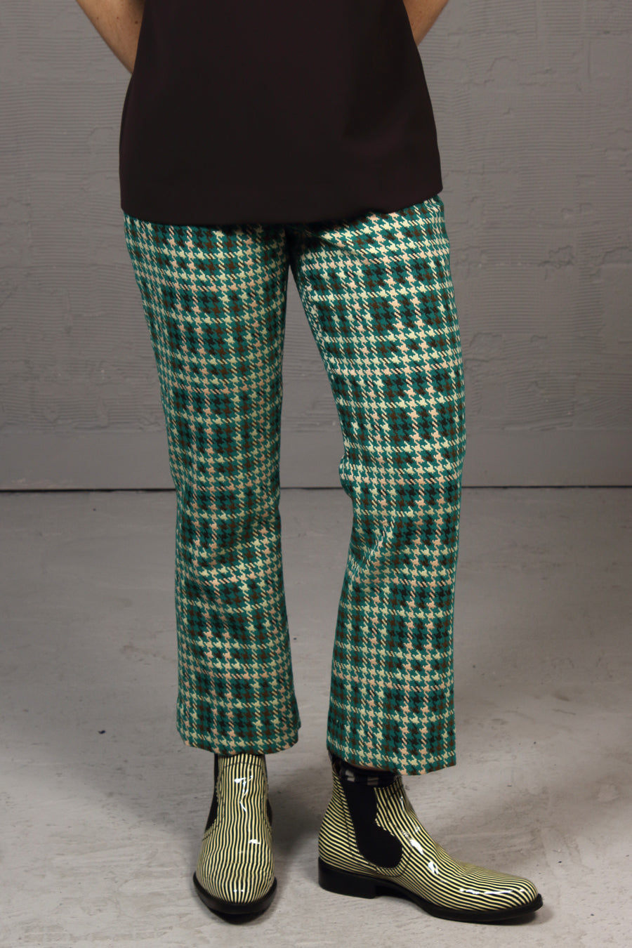 Coloured Houndstooth Tess Pant - teal
