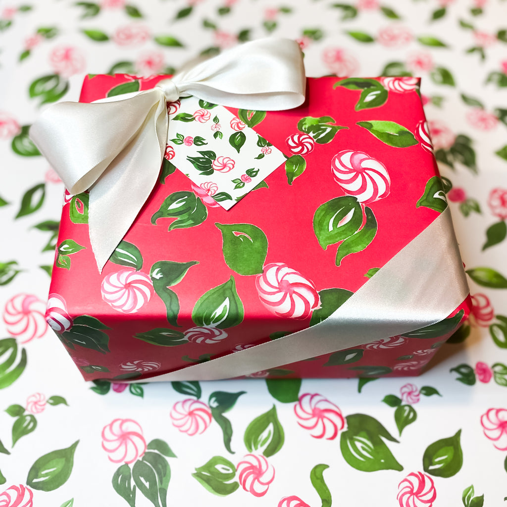 Peppermint Wrapping Paper | Hand Painted Paper Goods | Alexandra Williams