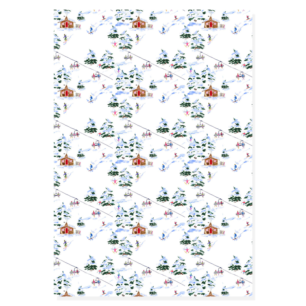 Ski Scene Wrapping Paper | Holiday Gift Wrap | Alexandra Williams Design