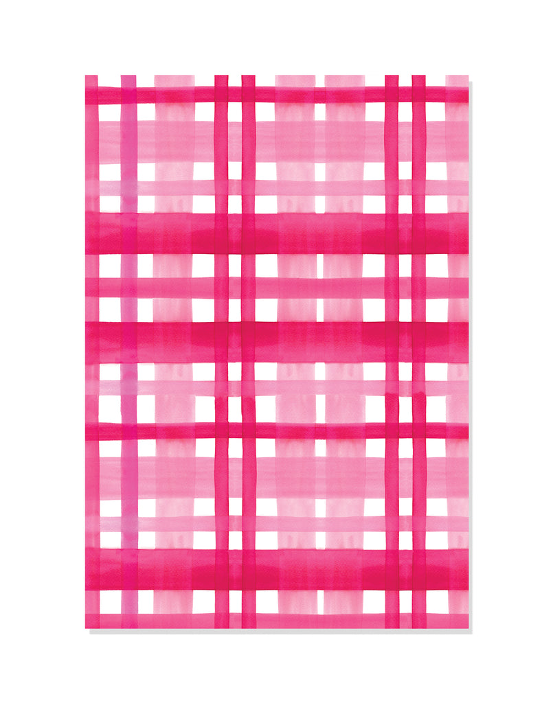 Pink Plaid Wrapping Paper | Hand Painted Paper Goods | Alexandra Williams