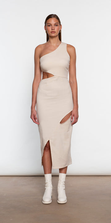 ONE SHOULDER DECONSTRUCTED CUT OUT DRESS