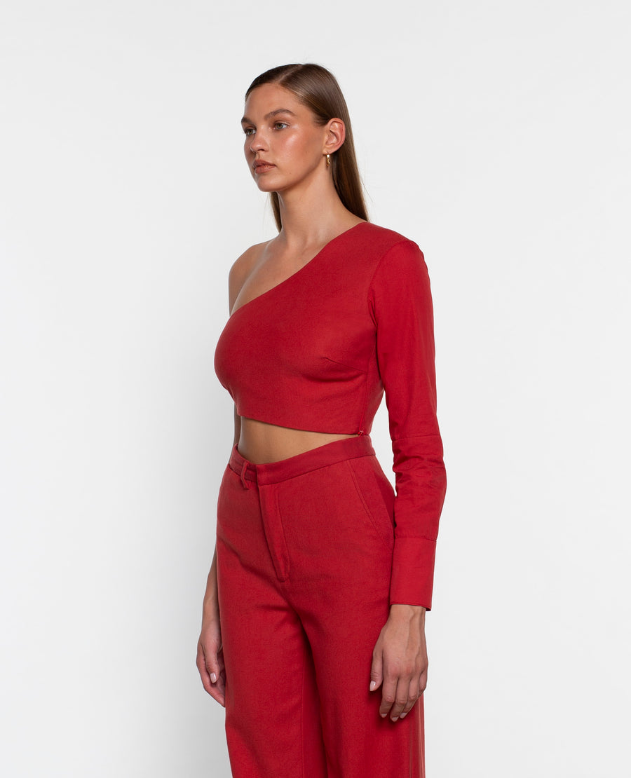 ONE SHOULDER ASYMMETRICAL TOP WITH CONTRAST SLEEVE
