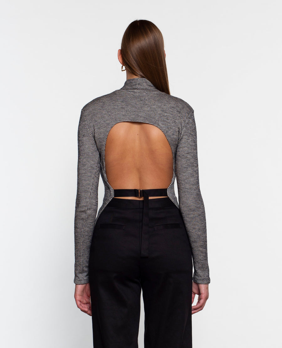 HIGH NECK OPEN BACK TOP