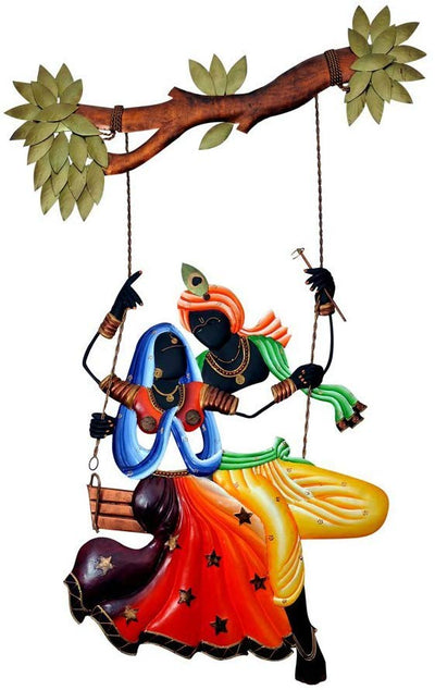 Radha Krishan Swing Jhula Designed Handcrafted Decorative Wall Hanging