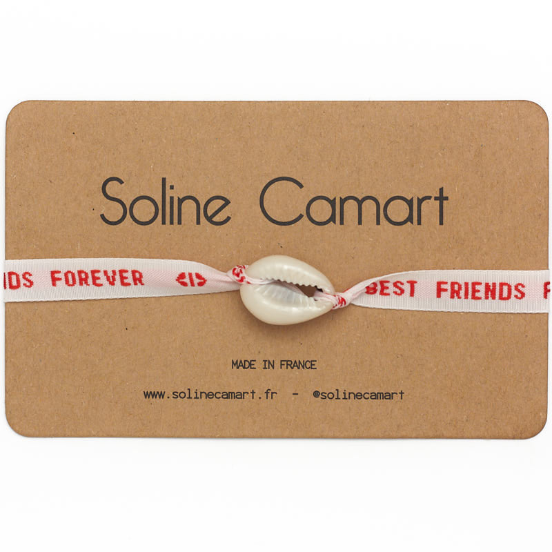 Bracelet Best Friends Forever Message Brodé Rouge Femme Coquillage